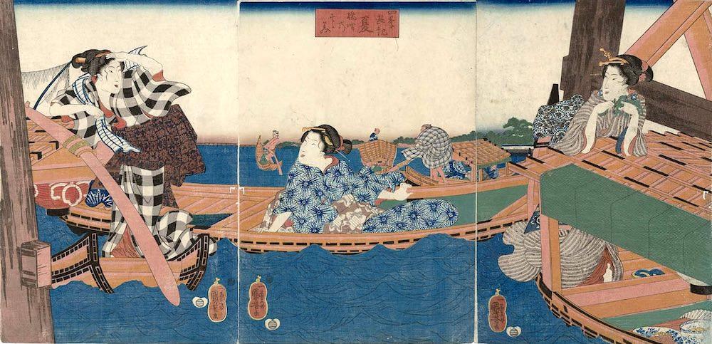 江戸時代の舟遊び。涼を求める人々に大人気だった(『四季遊観 夏 橋間のすずみ』歌川国芳 画)の拡大画像