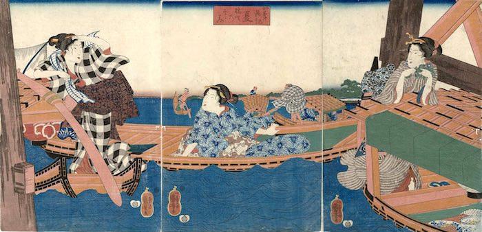 江戸時代の舟遊び。涼を求める人々に大人気だった(『四季遊観 夏 橋間のすずみ』歌川国芳 画)