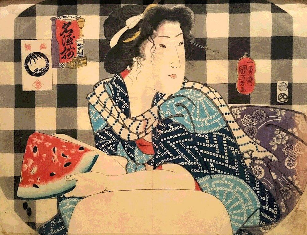 スイカを食べる江戸時代の女性(『名酒揃』より 歌川国芳 画)の拡大画像