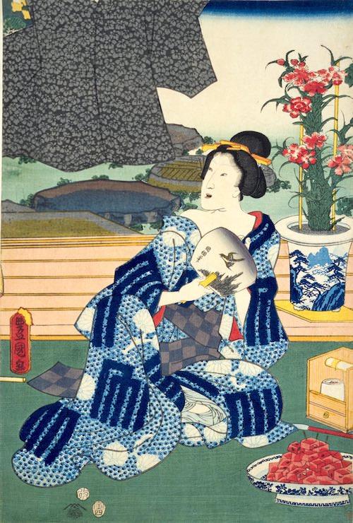 夏の土用は虫干しの日。虫干しをする女性の前に角切りの西瓜(『十二月の内 水無月 土用干』部分 三代歌川豊国 画)