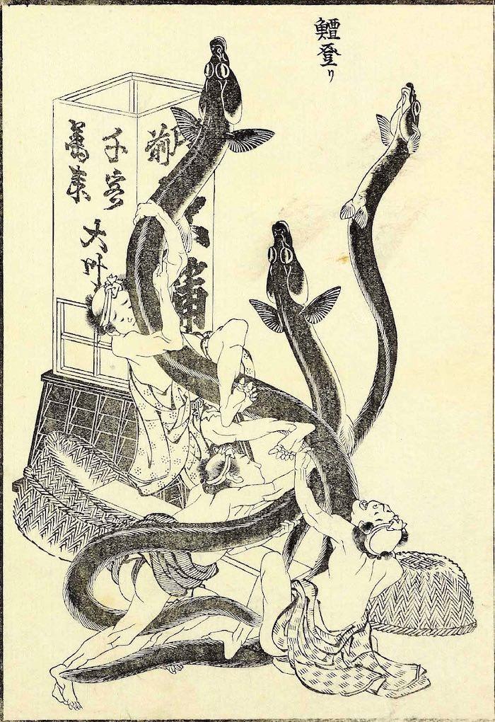 「うなぎ登り」(『北斎漫画』(十二編)より、葛飾北斎 画)の拡大画像