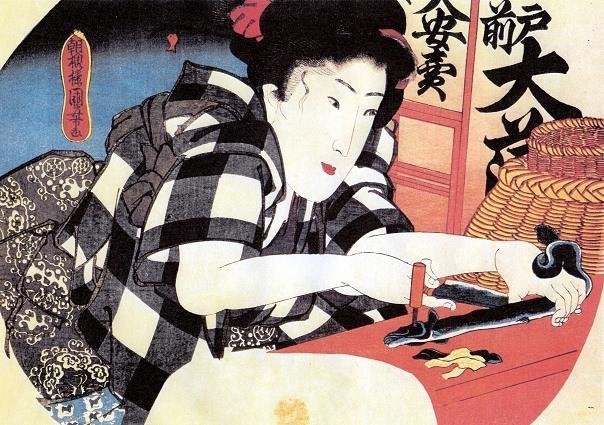 鰻をさばく江戸時代の女性(歌川国芳 画)