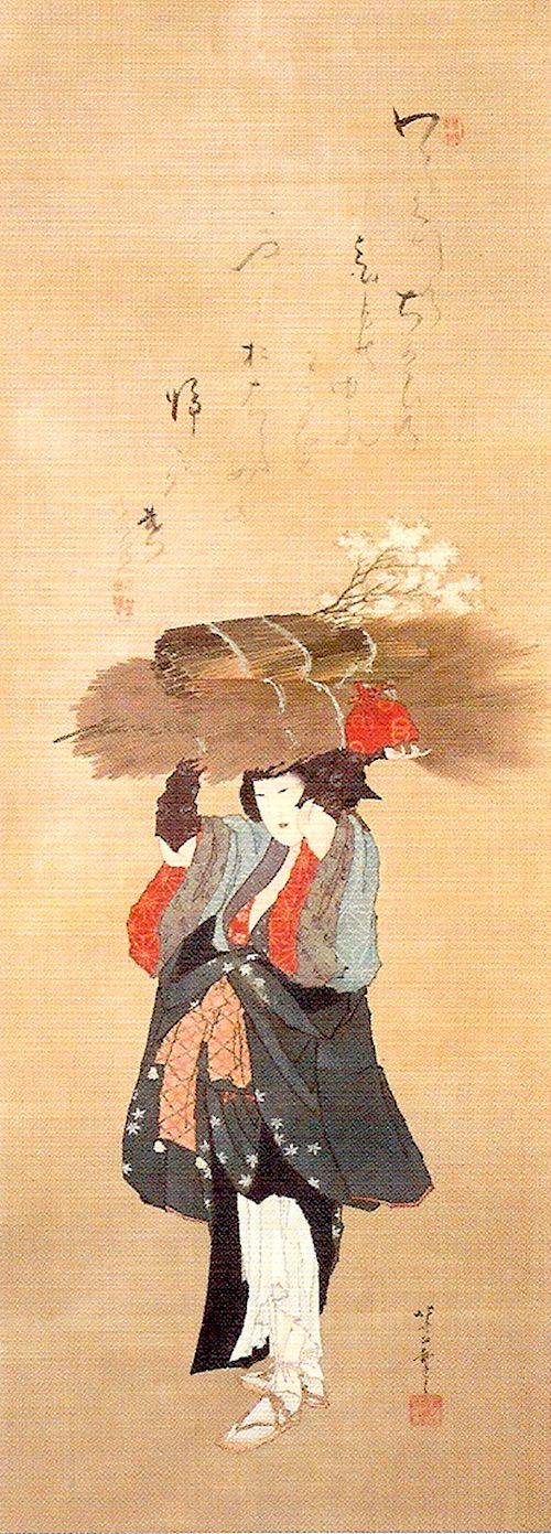 大原女(おはらめ)は大原でとれた薪や炭を京まで歩いて売りに来た女性(『大原女図』葛飾北斎 画)