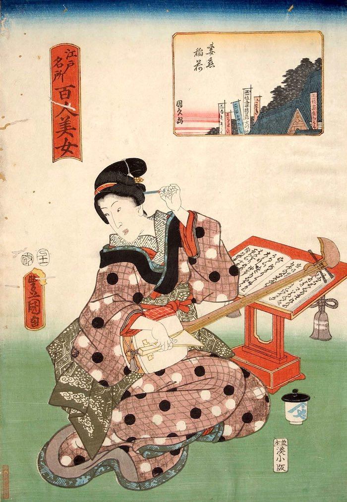 三味線の師匠(『江戸名所百人美女』「妻恋稲荷」三代歌川豊国 画)の拡大画像