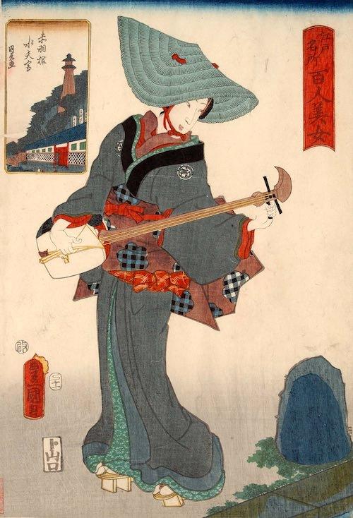 鳥追(とりおい)は正月限定の美人芸人(『江戸名所百人美女』「赤羽根水天宮」三代歌川豊国 画)