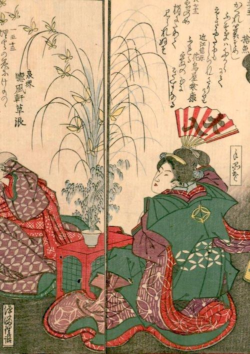 手妻使い(てづまつかい)は江戸時代の女手品師(『花容女職人鑑』より)