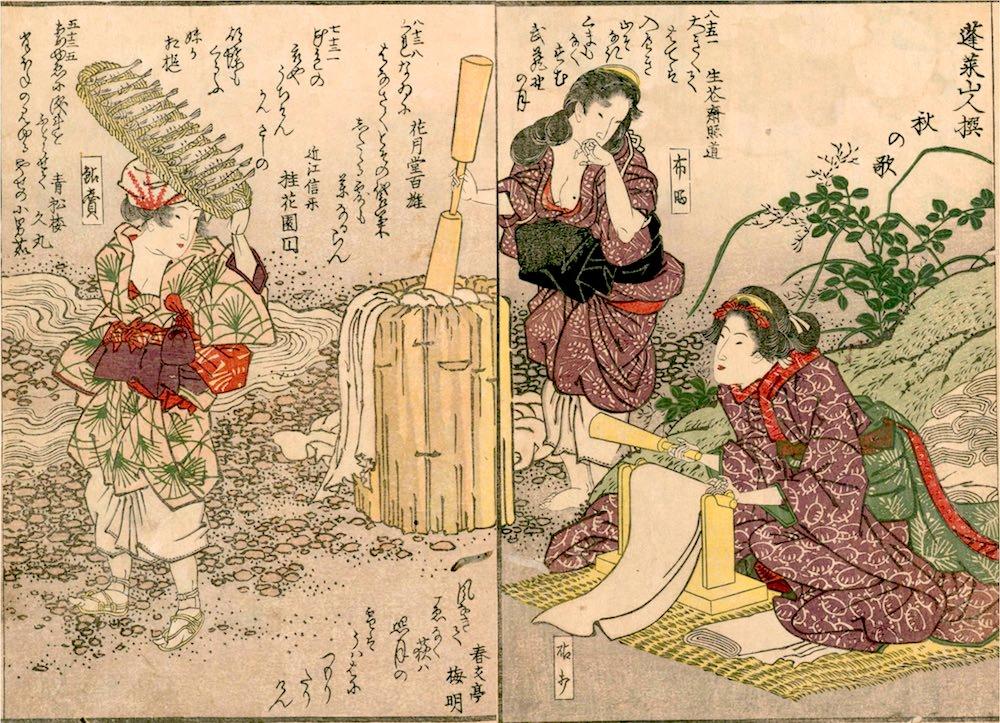 川辺で働く江戸時代の女性たち(『花容女職人鑑』より)の拡大画像