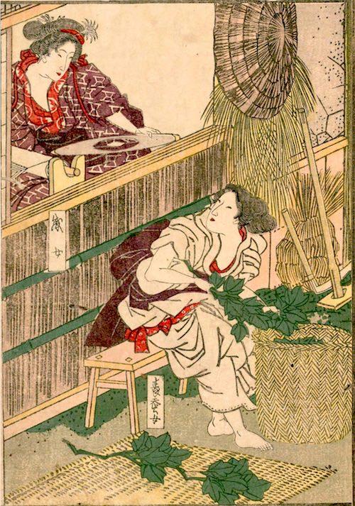 女性が活躍する養蚕・機織り(『花容女職人鑑』より)