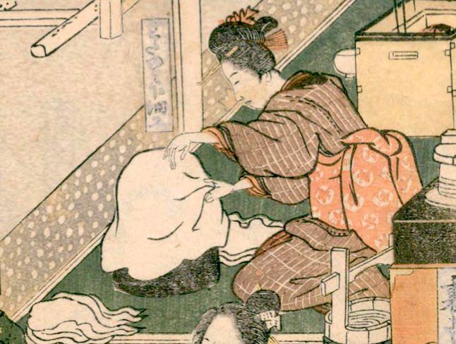 女性の内職・綿摘み(『絵本時世粧』より 歌川豊国 画)