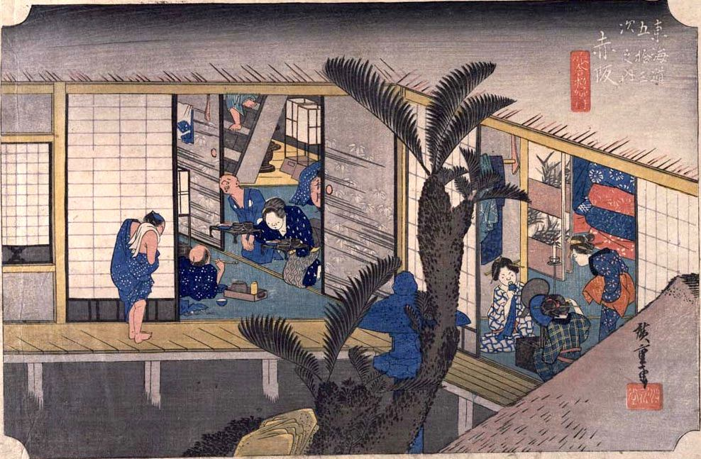 宿屋の私娼・飯盛女(めしもりおんな)(『東海道五十三次』「赤坂」歌川広重 画)の拡大画像