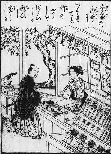 江戸時代の爪楊枝のお店(『絵本吾妻花』より 北尾重政 画)