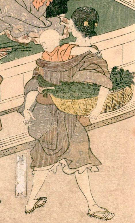 枝豆売りはおもに貧しい主婦の仕事だった(『絵本時世粧』より 歌川豊国 画)