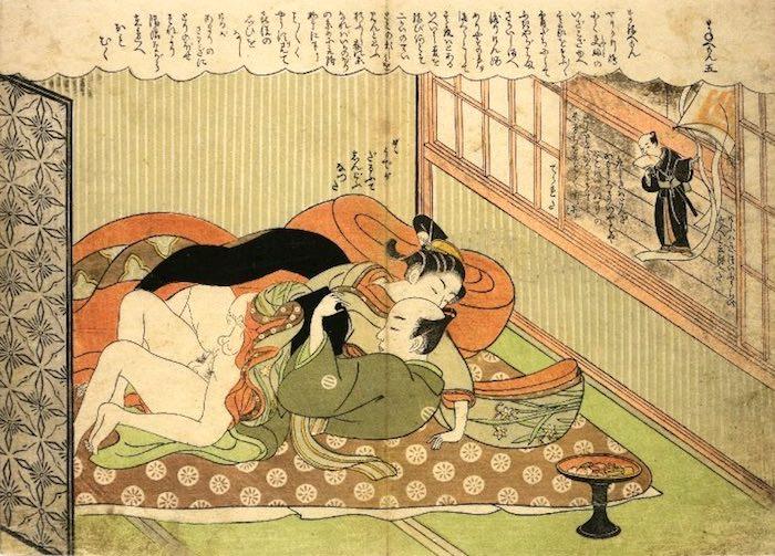芝居茶屋の2階で客に抱かれる陰子(かげご)(『風流艶色真似ゑもん』より)