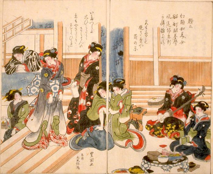 江戸における陰間茶屋のメッカとして有名だった芳町の陰間茶屋(『かくれ閭(りょ)』より)