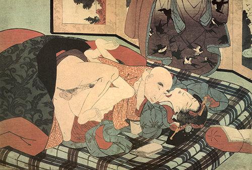 陰間茶屋で陰間と一戦交えている僧侶の春画(柳川重信 画)