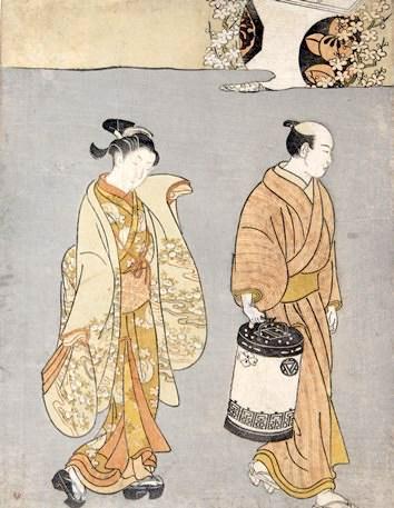 客の元へ向かう陰間(左)と金剛(こんごう)(鈴木春信 画)