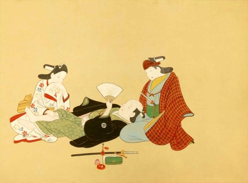 江戸時代の男色。武士が戯れているのは美少年の陰間たち(『男色秘戯画帖』より)の拡大画像