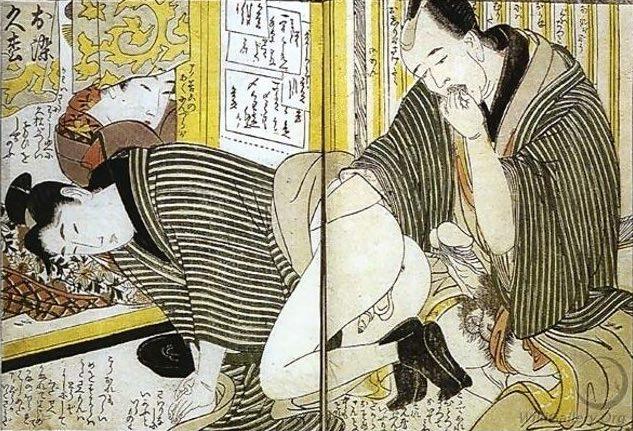 喜多川歌麿の春画(肛門性交に及ぼうとしている)