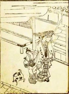 編笠を両手で支えながら歩く陰間(『風俗七遊談』より)