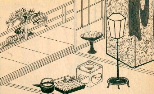 陰間茶屋の2階。宴会のあとが見える(『江戸男色細見菊の園』より)