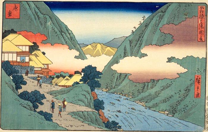 底倉温泉(『箱根七湯図絵』「底倉」歌川広重 画)