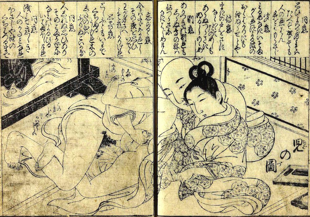 男色の僧侶に組み敷かれている少年(『女貞訓下所文庫』より)の拡大画像