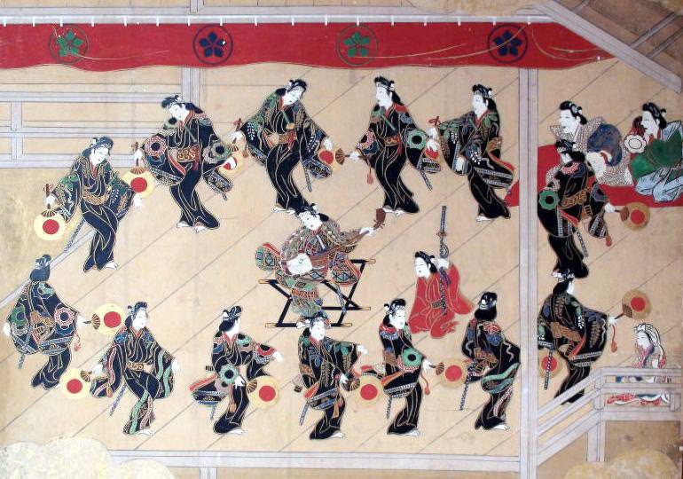 若衆(わかしゅ)歌舞伎。美少年たちが女装し踊る(『若衆歌舞伎図』部分)の拡大画像