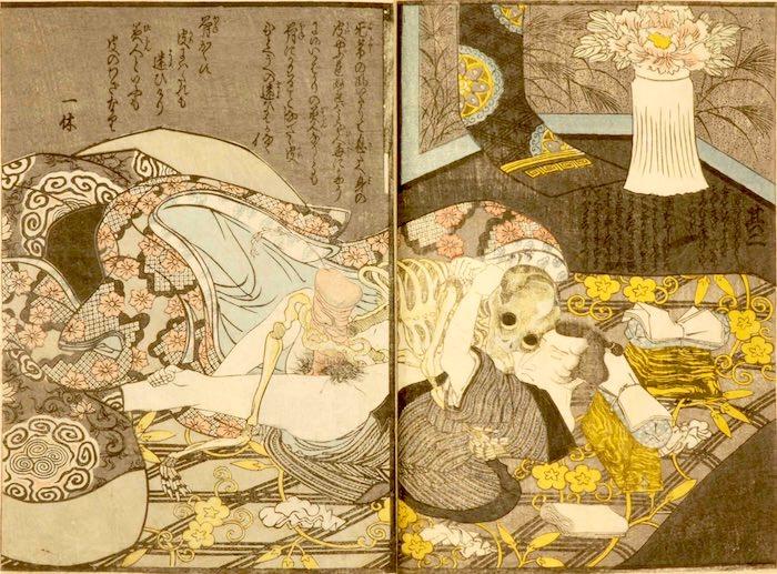 古典怪談『牡丹灯籠』を春画にしたもの(『絵本開中鏡』より 歌川豊国 画)