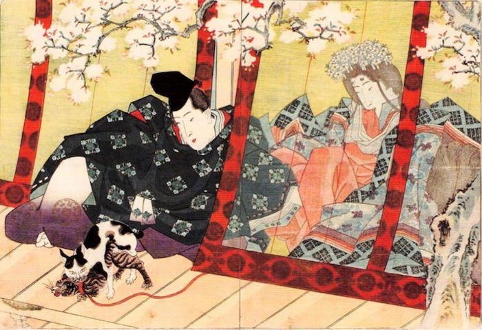 『源氏物語』の女三の宮のシーンを春画にした作品(『吾妻源氏』より 歌川国貞 画)