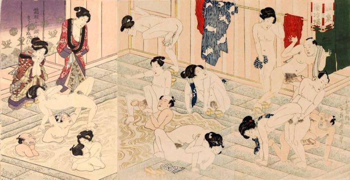 江戸時代のお風呂での乱交を描いた春画(歌川国貞 画)