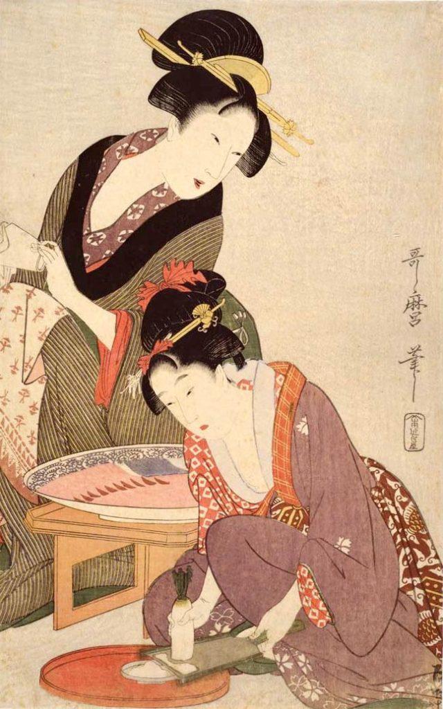 大根をおろす娘(『料理をする母娘』喜多川歌麿 画)の拡大画像