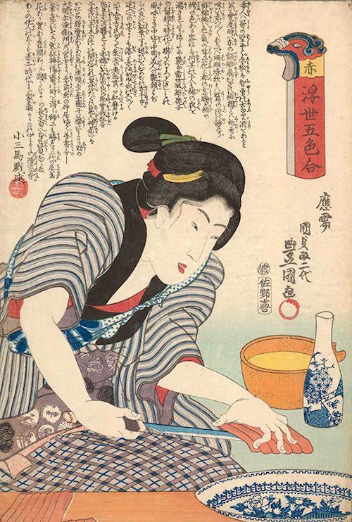 赤身の刺身を大皿に盛る女性(『浮世五色合』「赤」三代歌川豊国 画)