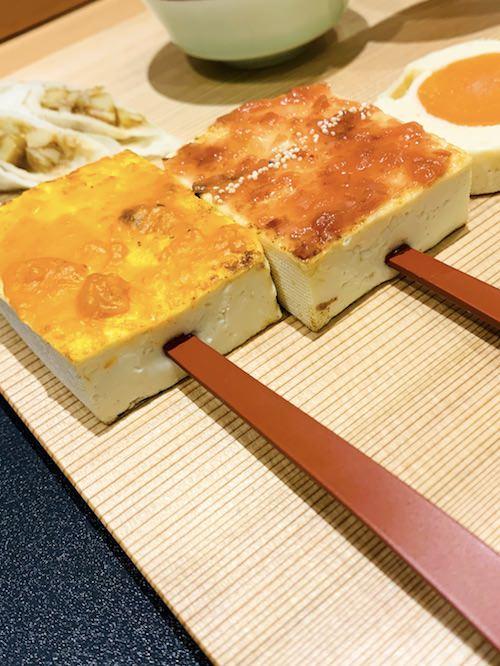 江戸時代の料理、雲丹でんがくと梅でんがくのセット