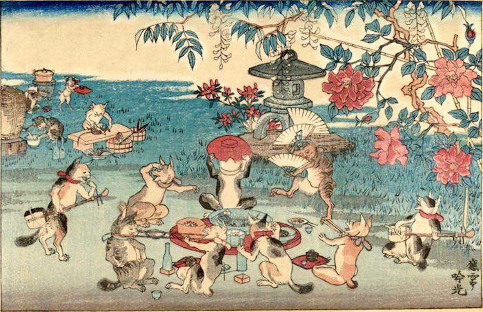 猫たちの宴会 浮世絵(安達吟光 画)