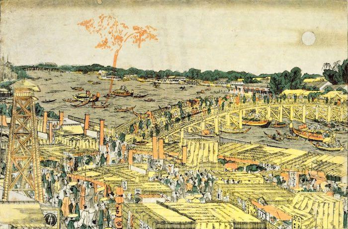 『新板浮絵両国橋夕涼花火見物之図』(葛飾北斎 画/1781-89年頃)
