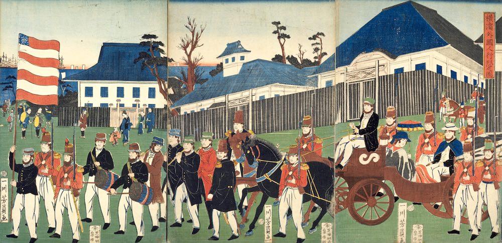 外国人居留地のひとつ横浜の光景(『横浜外国人行烈之図』一川芳員 画)の拡大画像