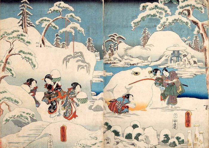 『源氏十二ヶ月之内 雪見月』(三代歌川豊国 画)