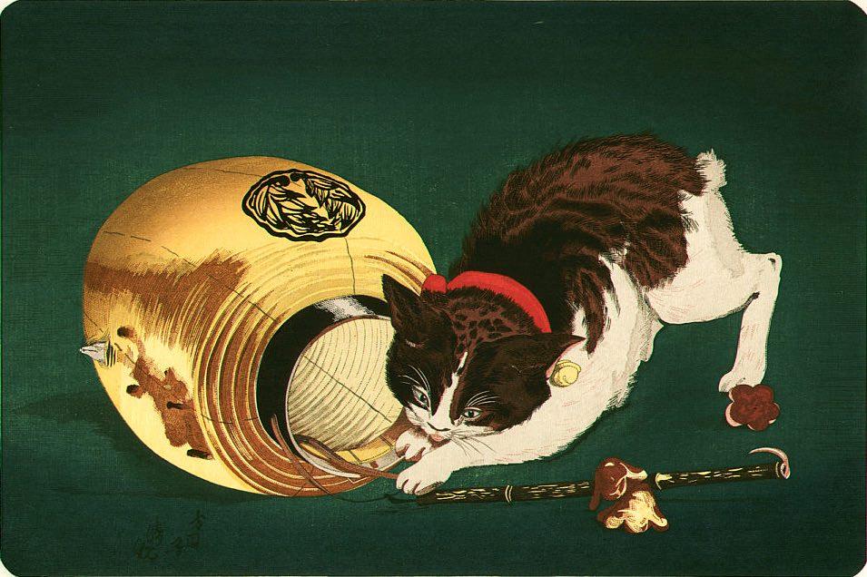 『猫と提灯』(小林清親 画)の拡大画像