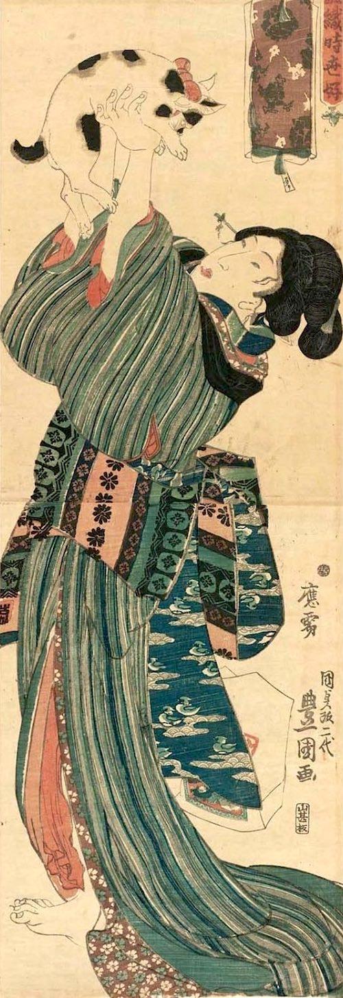 猫と美女の浮世絵(歌川豊国 画)