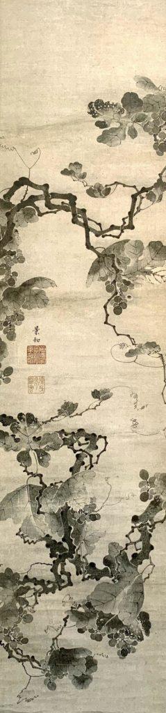 『葡萄図(ぶどうず)』(伊藤若冲 画)の拡大画像
