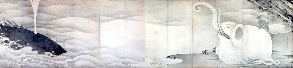 『象と鯨図屏風』(伊藤若冲 画)の拡大画像