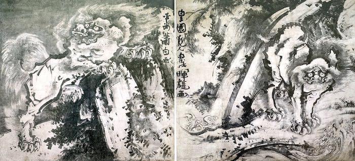 『象と鯨図屏風』(曾我蕭白 画)