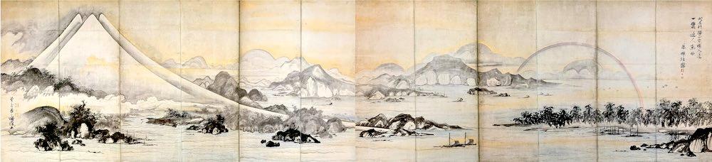 『富士・三保松原図屏風』(曾我蕭白 画)の拡大画像