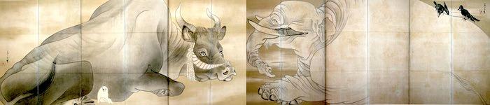 『白象黒牛図屏風』(通称「黒白図」)(長沢芦雪 画)