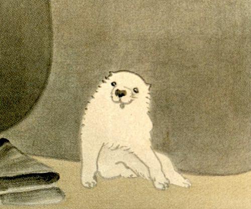 「黒白図」の犬