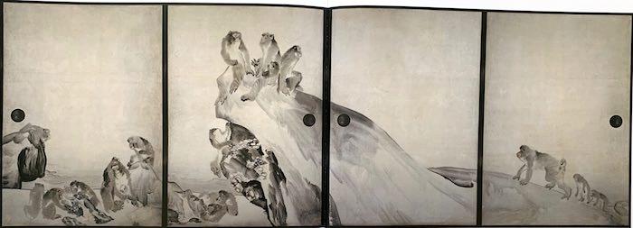 『群猿図襖(ぐんえんずふすま)』(長沢芦雪 画)