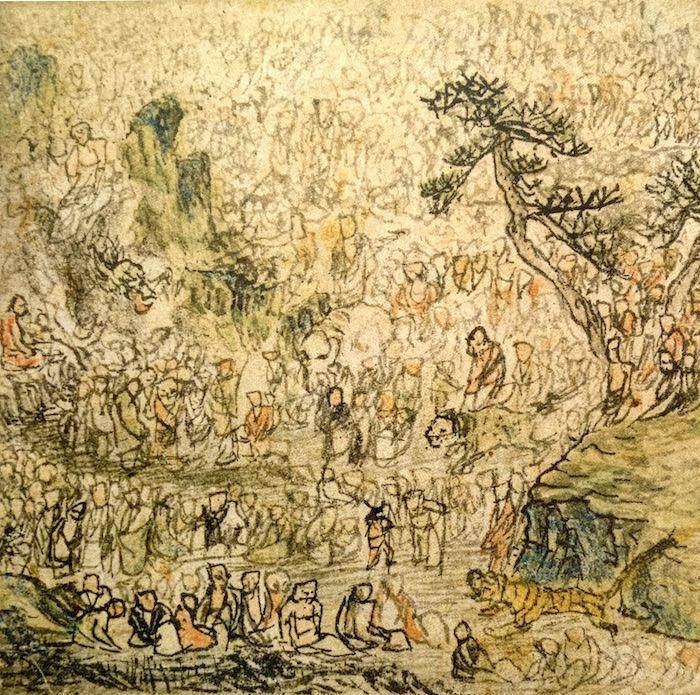 『方寸五百羅漢図』の釈迦と五百羅漢(長沢芦雪 画)