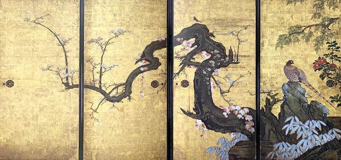 『梅花遊禽図襖(ばいかゆうきんずふすま)』(狩野山雪 画)