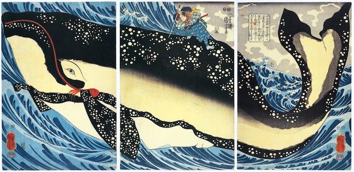 『宮本武蔵の鯨退治』(歌川国芳 画)