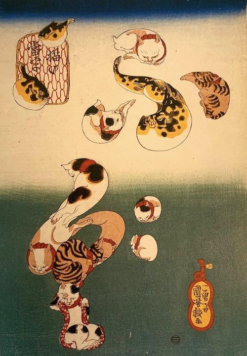 『猫の当字』「ふぐ」(歌川国芳 画)